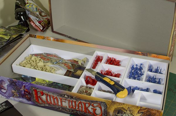 An image showing unfinished custom box insert of Rune Wars